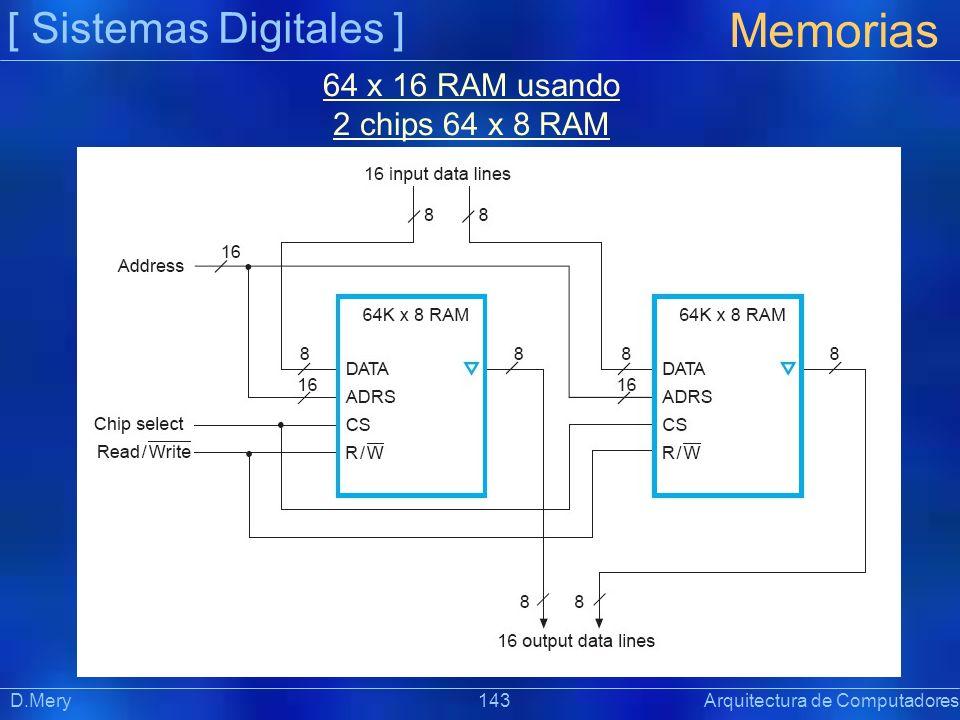 Memorias [ Sistemas Digitales ] 64 x 16 RAM usando 2 chips 64 x 8 RAM